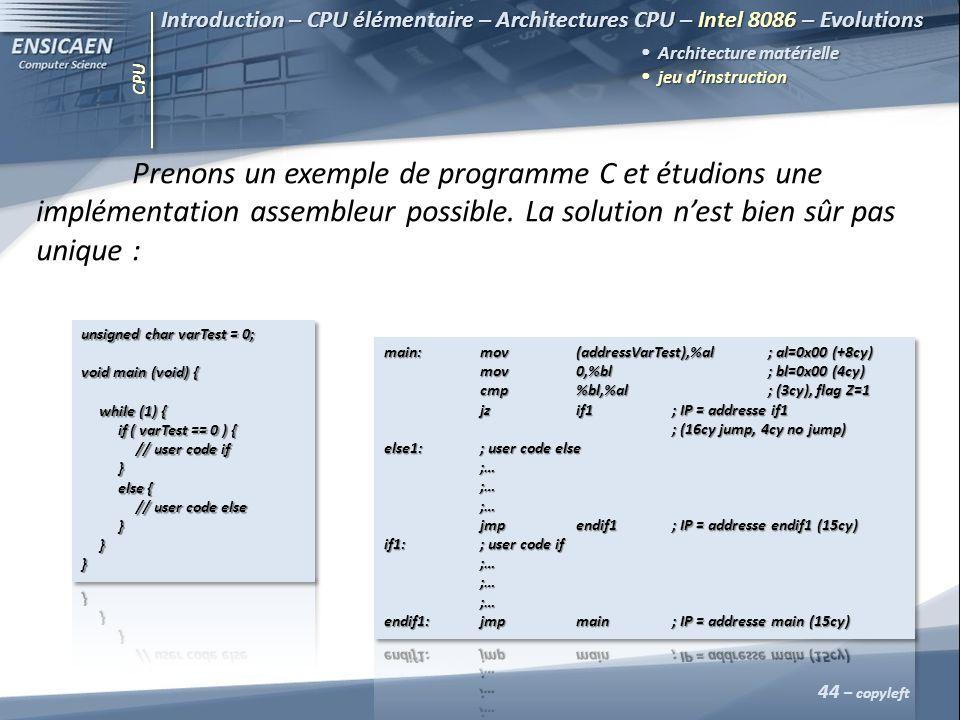 CPU 44 – copyleft Introduction – CPU élémentaire – Architectures CPU – Intel 8086 – Evolutions Architecture matérielle jeu dinstruction jeu dinstructi