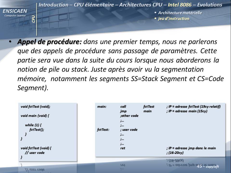 CPU 45 – copyleft Introduction – CPU élémentaire – Architectures CPU – Intel 8086 – Evolutions Architecture matérielle jeu dinstruction jeu dinstructi
