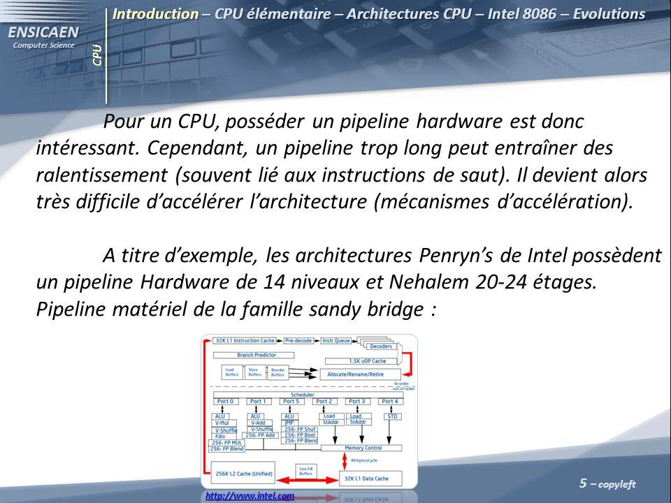 CPU Pour un CPU, posséder un pipeline hardware est donc intéressant. Cependant, un pipeline trop long peut entraîner des ralentissement (souvent lié a