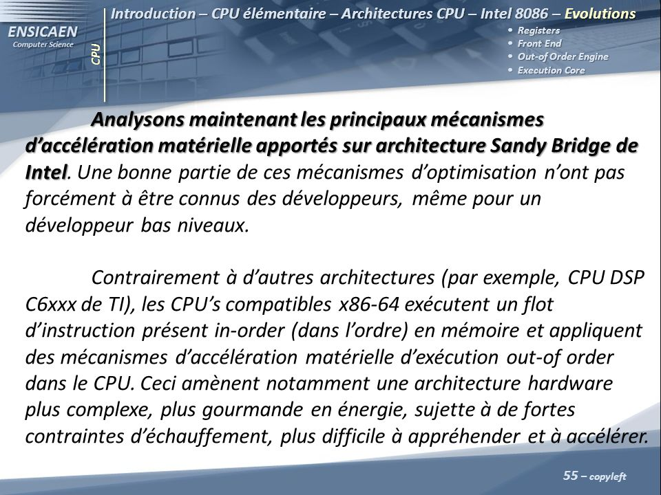 CPU 55 – copyleft Introduction – CPU élémentaire – Architectures CPU – Intel 8086 – Evolutions Registers Front End Front End Out-of Order Engine Out-o