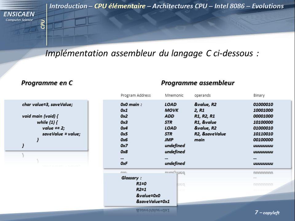 CPU 7 – copyleft Implémentation assembleur du langage C ci-dessous : Programme en C Programme en C Programme assembleur Programme assembleur Program A