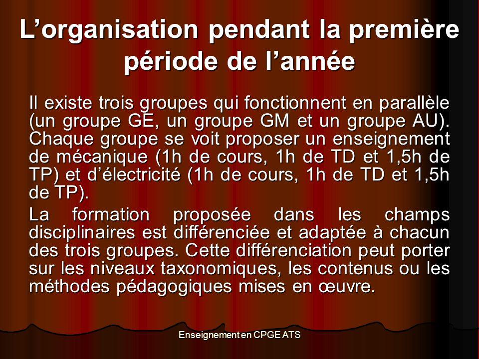 Enseignement en CPGE ATS Lorganisation pendant la première période de lannée Il existe trois groupes qui fonctionnent en parallèle (un groupe GE, un groupe GM et un groupe AU).