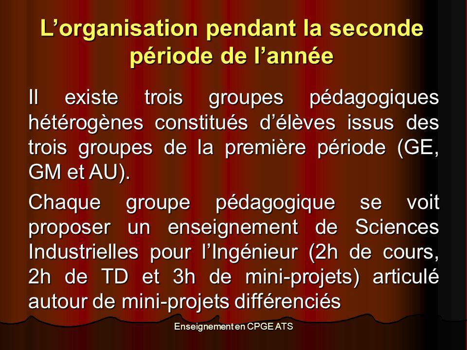 Enseignement en CPGE ATS Lorganisation pendant la seconde période de lannée Il existe trois groupes pédagogiques hétérogènes constitués délèves issus des trois groupes de la première période (GE, GM et AU).