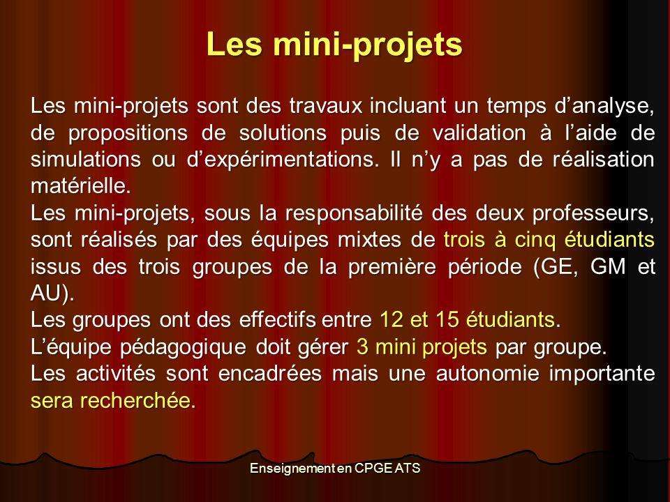 Les mini-projets sont des travaux incluant un temps danalyse, de propositions de solutions puis de validation à laide de simulations ou dexpérimentations.