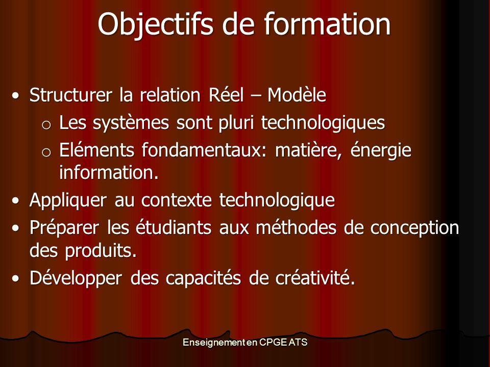 Enseignement en CPGE ATS Objectifs de formation Structurer la relation Réel – ModèleStructurer la relation Réel – Modèle o Les systèmes sont pluri technologiques o Eléments fondamentaux: matière, énergie information.