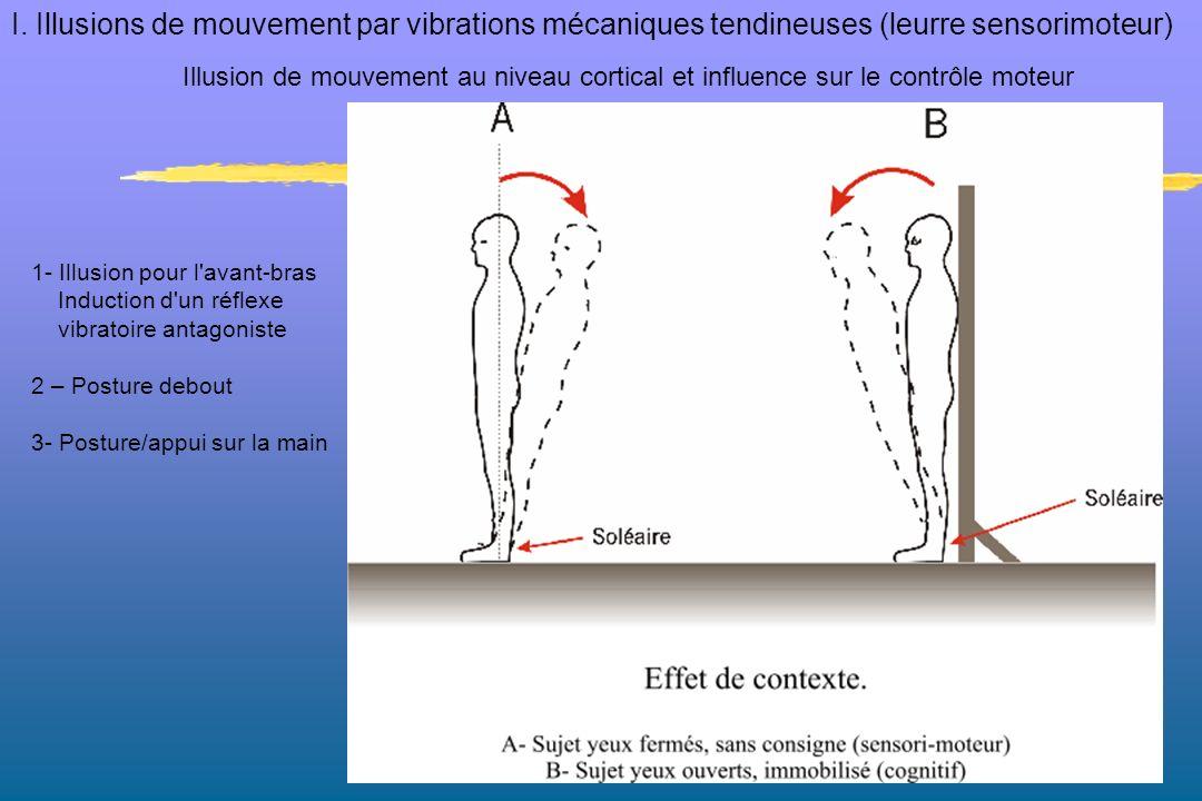 1- Illusion pour l'avant-bras Induction d'un réflexe vibratoire antagoniste 2 – Posture debout 3- Posture/appui sur la main Illusion de mouvement au n