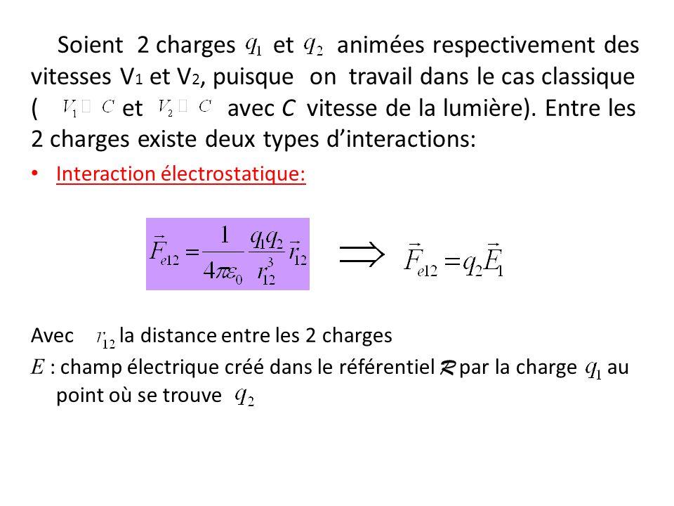 Soient 2 charges et animées respectivement des vitesses V 1 et V 2, puisque on travail dans le cas classique ( et avec C vitesse de la lumière).