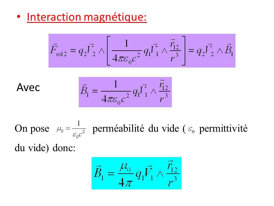 Interaction magnétique: Avec On pose perméabilité du vide ( permittivité du vide) donc: