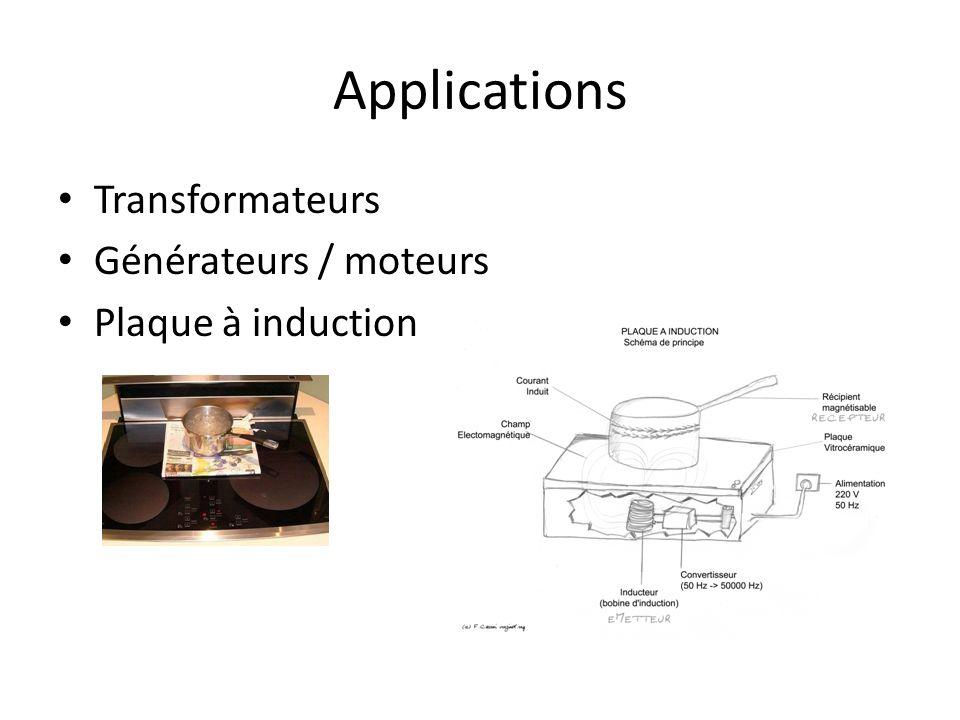 Applications Transformateurs Générateurs / moteurs Plaque à induction