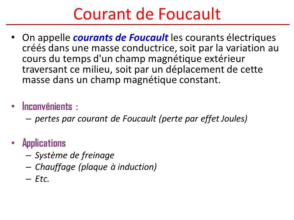 Courant de Foucault On appelle courants de Foucault les courants électriques créés dans une masse conductrice, soit par la variation au cours du temps d un champ magnétique extérieur traversant ce milieu, soit par un déplacement de cette masse dans un champ magnétique constant.