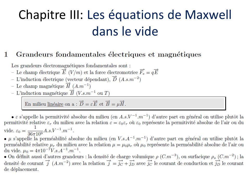 Chapitre III: Les équations de Maxwell dans le vide