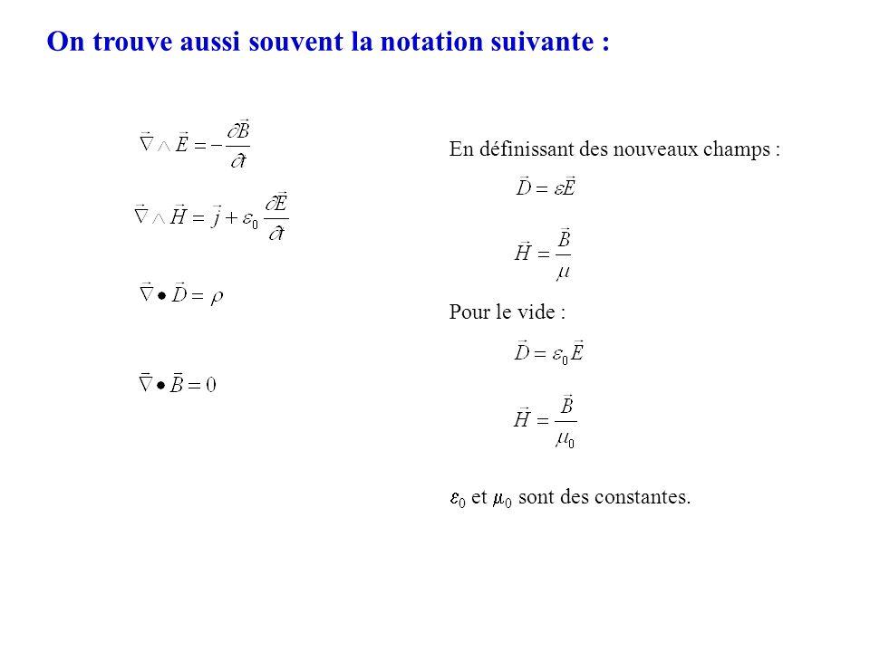 On trouve aussi souvent la notation suivante : En définissant des nouveaux champs : Pour le vide : 0 et 0 sont des constantes.