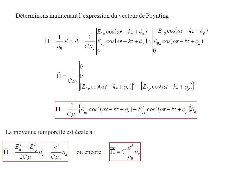 Déterminons maintenant lexpression du vecteur de Poynting La moyenne temporelle est égale à : ou encore