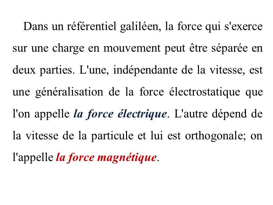 Dans un référentiel galiléen, la force qui s exerce sur une charge en mouvement peut être séparée en deux parties.