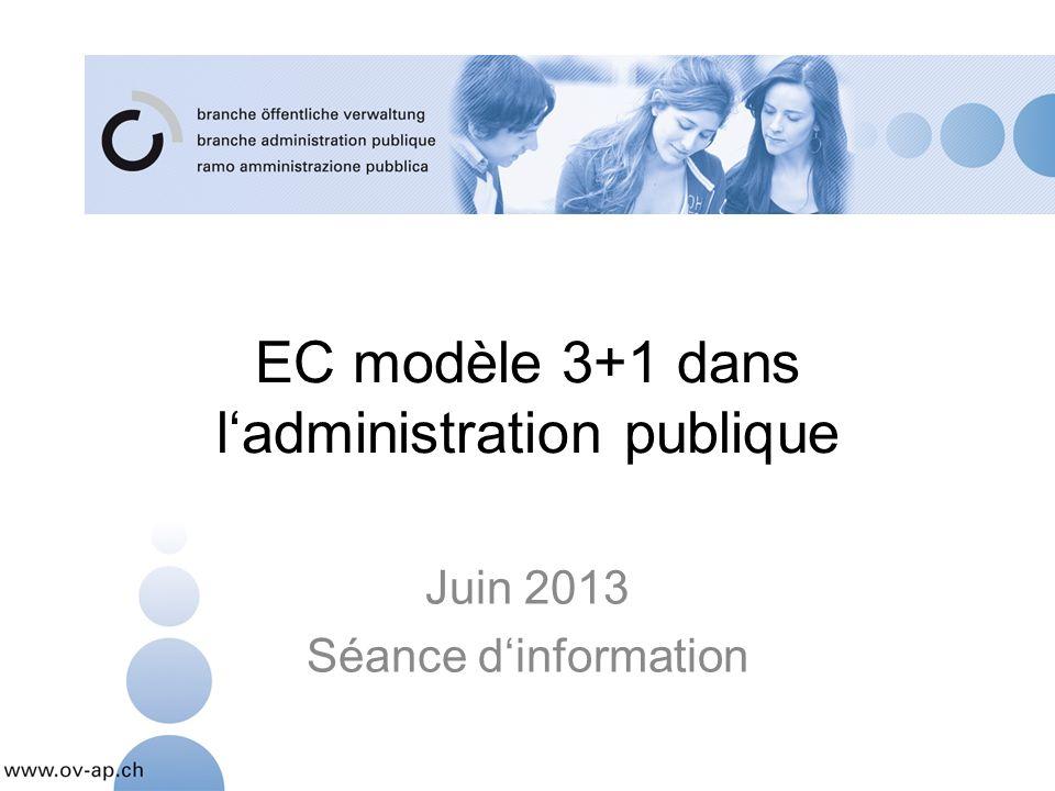 EC modèle 3+1 dans ladministration publique Juin 2013 Séance dinformation