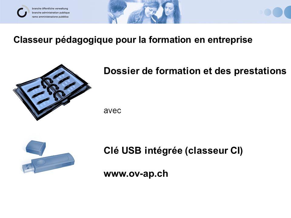 Classeur pédagogique pour la formation en entreprise Dossier de formation et des prestations avec Clé USB intégrée (classeur CI) www.ov-ap.ch