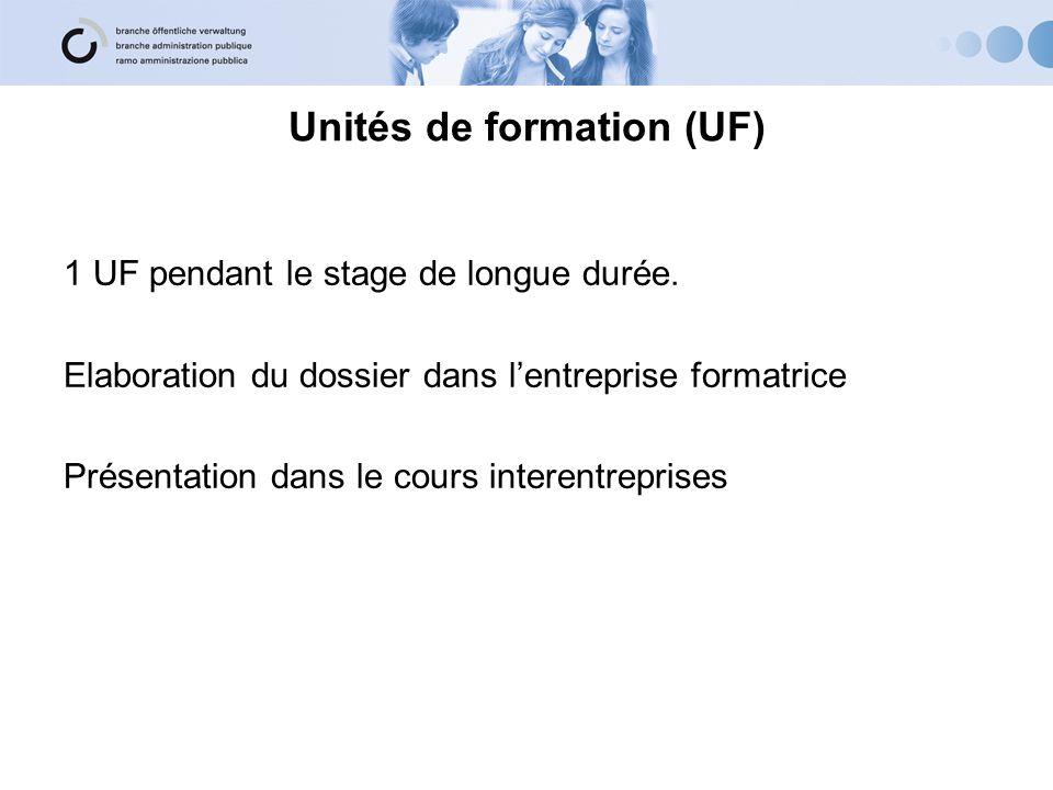 Unités de formation (UF) 1 UF pendant le stage de longue durée.