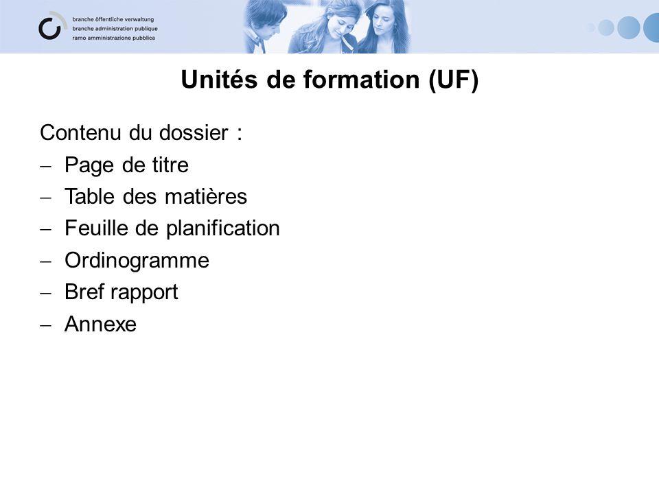 Unités de formation (UF) Contenu du dossier : Page de titre Table des matières Feuille de planification Ordinogramme Bref rapport Annexe