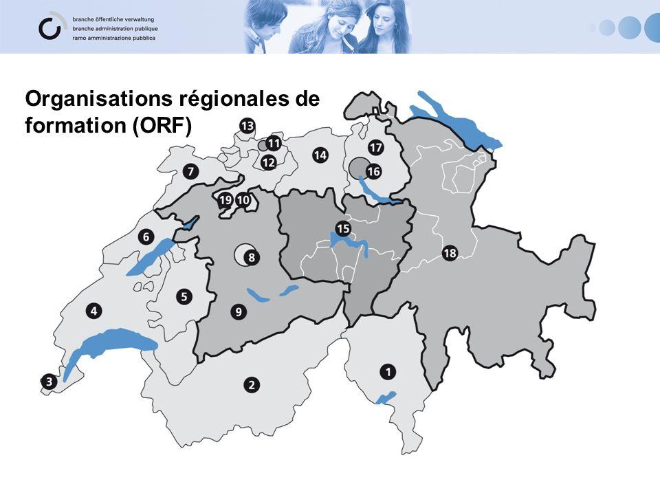 Organisations régionales de formation (1) 1Amministrazione cantonale e Comuni del Cantone Ticino 2ovap-vs Kanton und Gemeinden Wallis / Canton et communes du Valais 3ORF Etat de Genève 4ORF-VD, Organisation régionale de formation 5Kant.