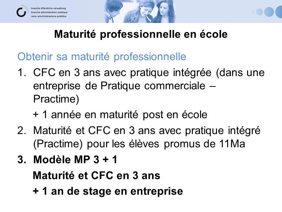 Maturité professionnelle en école Obtenir sa maturité professionnelle 1.CFC en 3 ans avec pratique intégrée (dans une entreprise de Pratique commercia