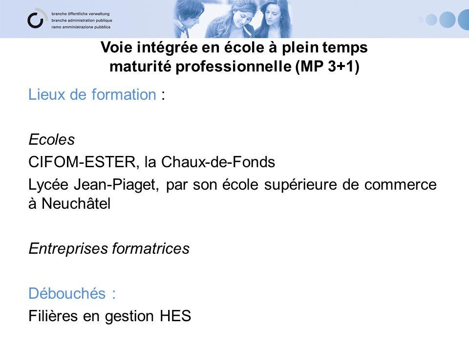 Voie intégrée en école à plein temps maturité professionnelle (MP 3+1) Lieux de formation : Ecoles CIFOM-ESTER, la Chaux-de-Fonds Lycée Jean-Piaget, p