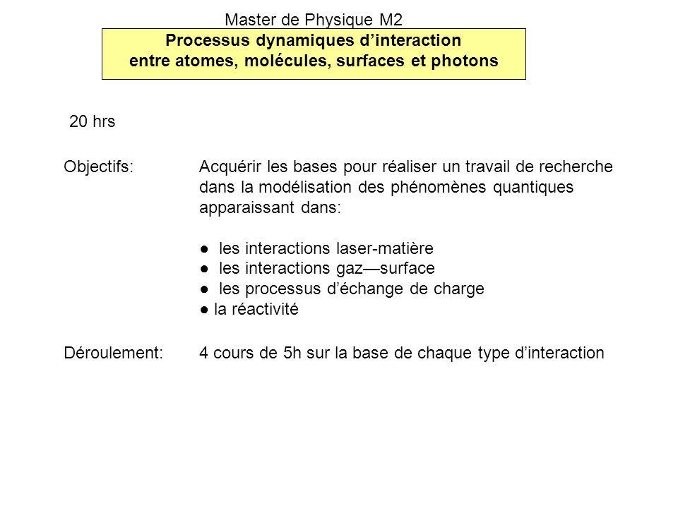 Objectifs: Acquérir les bases pour réaliser un travail de recherche dans la modélisation des phénomènes quantiques apparaissant dans: les interactions