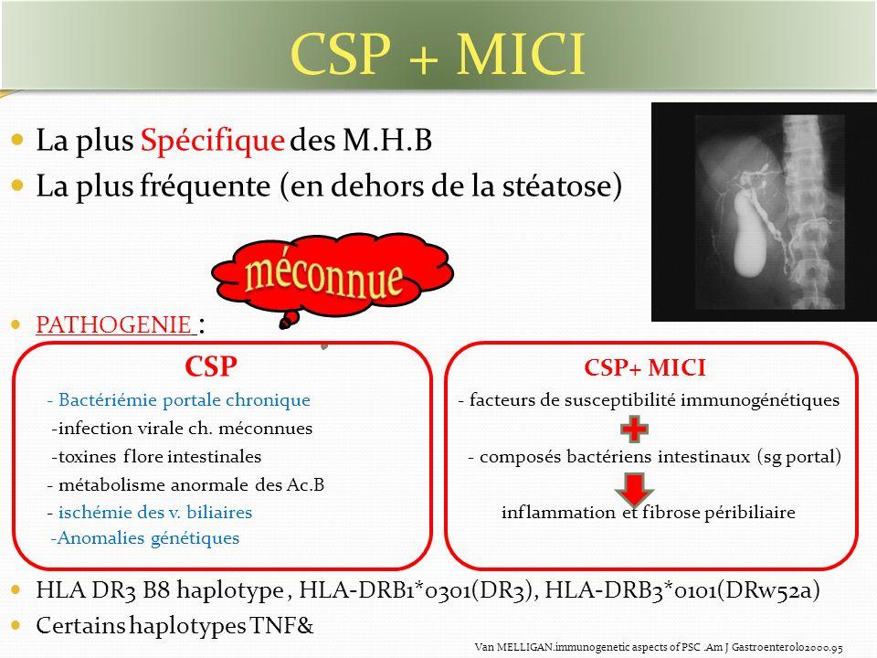 La plus Spécifique des M.H.B La plus fréquente (en dehors de la stéatose) PATHOGENIE : CSP CSP+ MICI - Bactériémie portale chronique - facteurs de sus