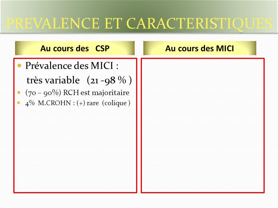 PREVALENCE ET CARACTERISTIQUES Prévalence des MICI : très variable (21 -98 % ) (70 – 90%) RCH est majoritaire 4% M.CROHN : (+) rare (colique ) Au cours des CSPAu cours des MICI