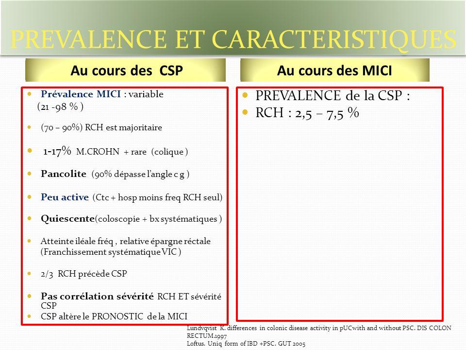 PREVALENCE ET CARACTERISTIQUES Prévalence MICI : variable (21 -98 % ) (70 – 90%) RCH est majoritaire 1-17% M.CROHN + rare (colique ) Pancolite (90% dépasse langle c g ) Peu active (Ctc + hosp moins freq RCH seul) Quiescente (coloscopie + bx systématiques ) Atteinte iléale fréq, relative épargne réctale (Franchissement systématique VIC ) 2/3 RCH précède CSP Pas corrélation sévérité RCH ET sévérité CSP CSP altère le PRONOSTIC de la MICI PREVALENCE de la CSP : RCH : 2,5 – 7,5 % Au cours des CSPAu cours des MICI Lundvqvist K.