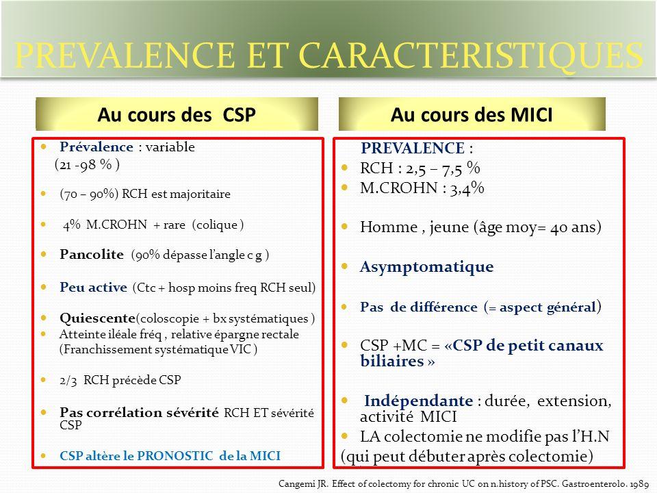 PREVALENCE ET CARACTERISTIQUES Prévalence : variable (21 -98 % ) (70 – 90%) RCH est majoritaire 4% M.CROHN + rare (colique ) Pancolite (90% dépasse langle c g ) Peu active (Ctc + hosp moins freq RCH seul) Quiescente (coloscopie + bx systématiques ) Atteinte iléale fréq, relative épargne rectale (Franchissement systématique VIC ) 2/3 RCH précède CSP Pas corrélation sévérité RCH ET sévérité CSP CSP altère le PRONOSTIC de la MICI PREVALENCE : RCH : 2,5 – 7,5 % M.CROHN : 3,4% Homme, jeune (âge moy= 40 ans) Asymptomatique Pas de différence (= aspect général ) CSP +MC = «CSP de petit canaux biliaires » Indépendante : durée, extension, activité MICI LA colectomie ne modifie pas lH.N (qui peut débuter après colectomie) C Au cours des CSPAu cours des MICI Cangemi JR.