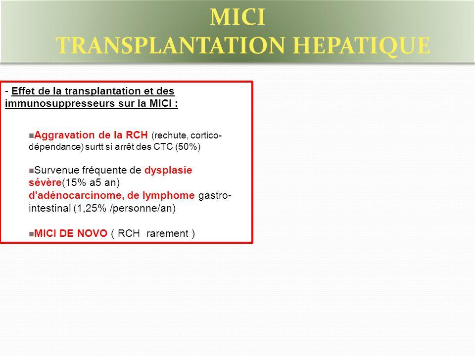 - Effet de la transplantation et des immunosuppresseurs sur la MICI : Aggravation de la RCH (rechute, cortico- dépendance) surtt si arrêt des CTC (50%) Survenue fréquente de dysplasie sévère(15% a5 an) d adénocarcinome, de lymphome gastro- intestinal (1,25% /personne/an) MICI DE NOVO ( RCH rarement ) MICI TRANSPLANTATION HEPATIQUE MICI TRANSPLANTATION HEPATIQUE