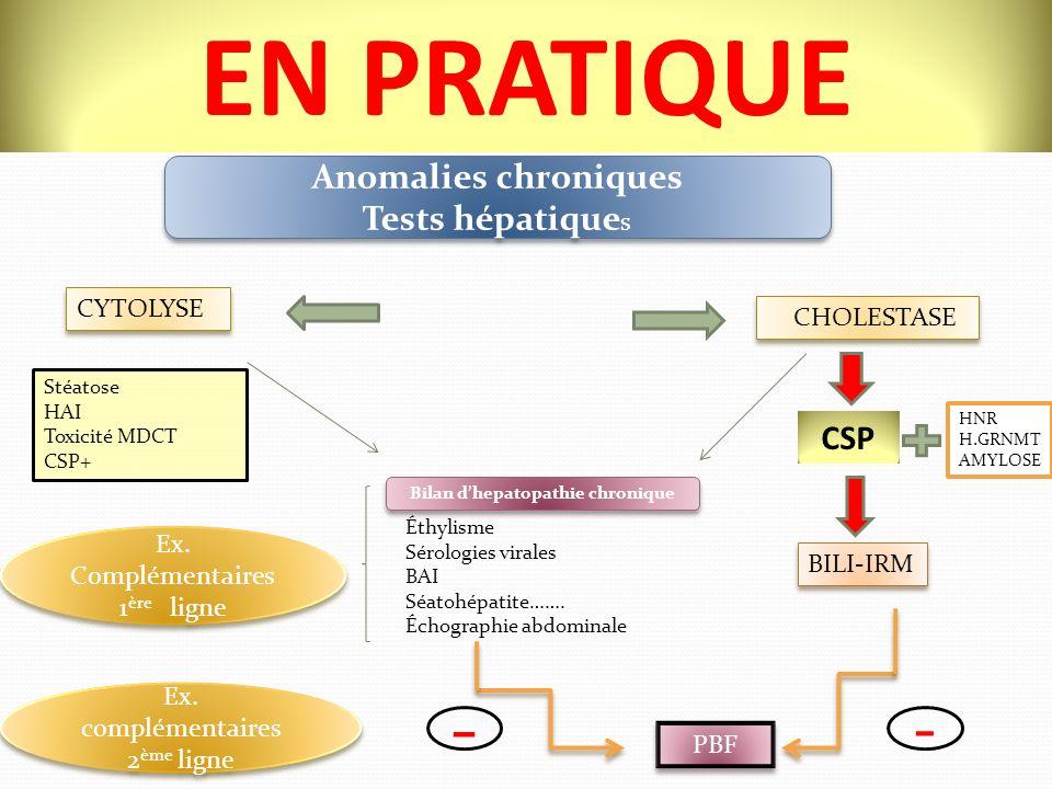 EN PRATIQUE Anomalies chroniques Tests hépatique s Anomalies chroniques Tests hépatique s Bilan dhepatopathie chronique Éthylisme Sérologies virales BAI Séatohépatite…….