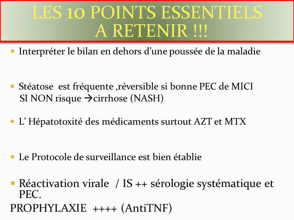 Interpréter le bilan en dehors dune poussée de la maladie Stéatose est fréquente,réversible si bonne PEC de MICI SI NON risque cirrhose (NASH) L Hépat