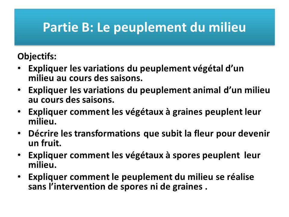 Partie B: Le peuplement du milieu Objectifs: Expliquer les variations du peuplement végétal dun milieu au cours des saisons. Expliquer les variations