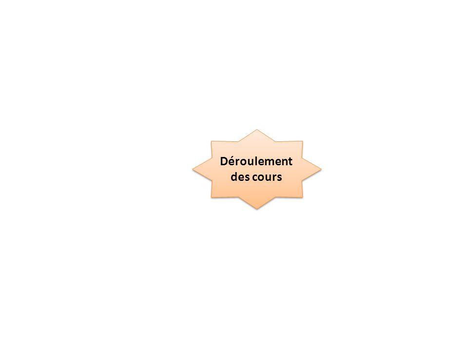 Déroulement des cours Fiche Livre TD 1/2 groupe Exercices