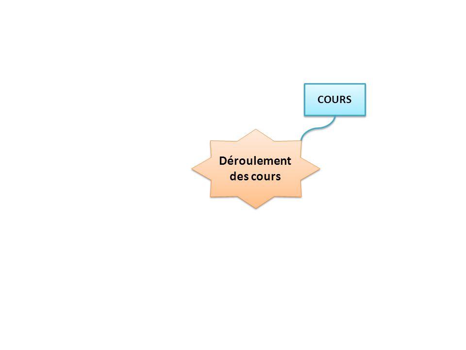 COURS Vidéo projeté Vidéo projeté Compléter en classe A trous Codes couleur Déroulement des cours Faire ressortir mémoriser