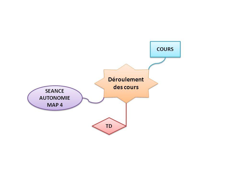 Déroulement des cours SEANCE AUTONOMIE MAP 4 SEANCE AUTONOMIE MAP 4