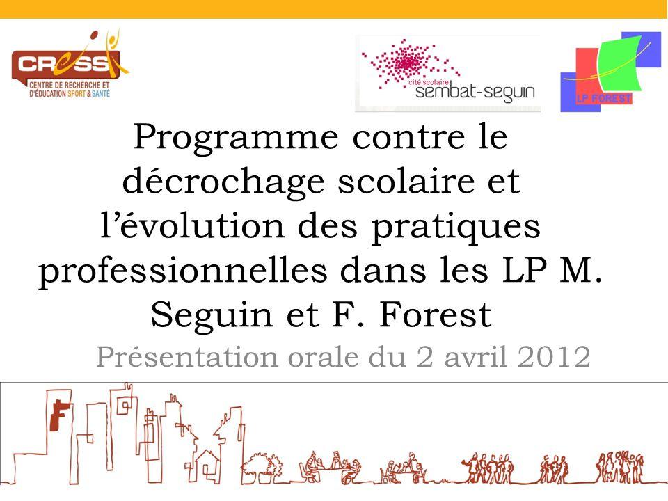 Programme contre le décrochage scolaire et lévolution des pratiques professionnelles dans les LP M. Seguin et F. Forest Présentation orale du 2 avril
