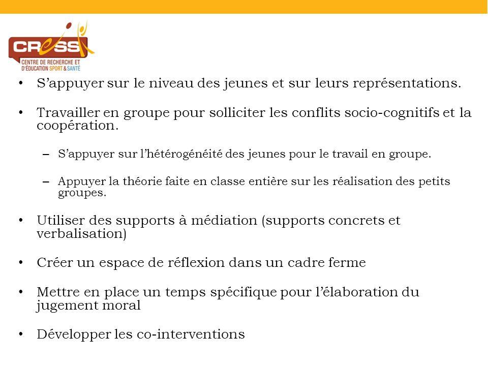 Sappuyer sur le niveau des jeunes et sur leurs représentations. Travailler en groupe pour solliciter les conflits socio-cognitifs et la coopération. –