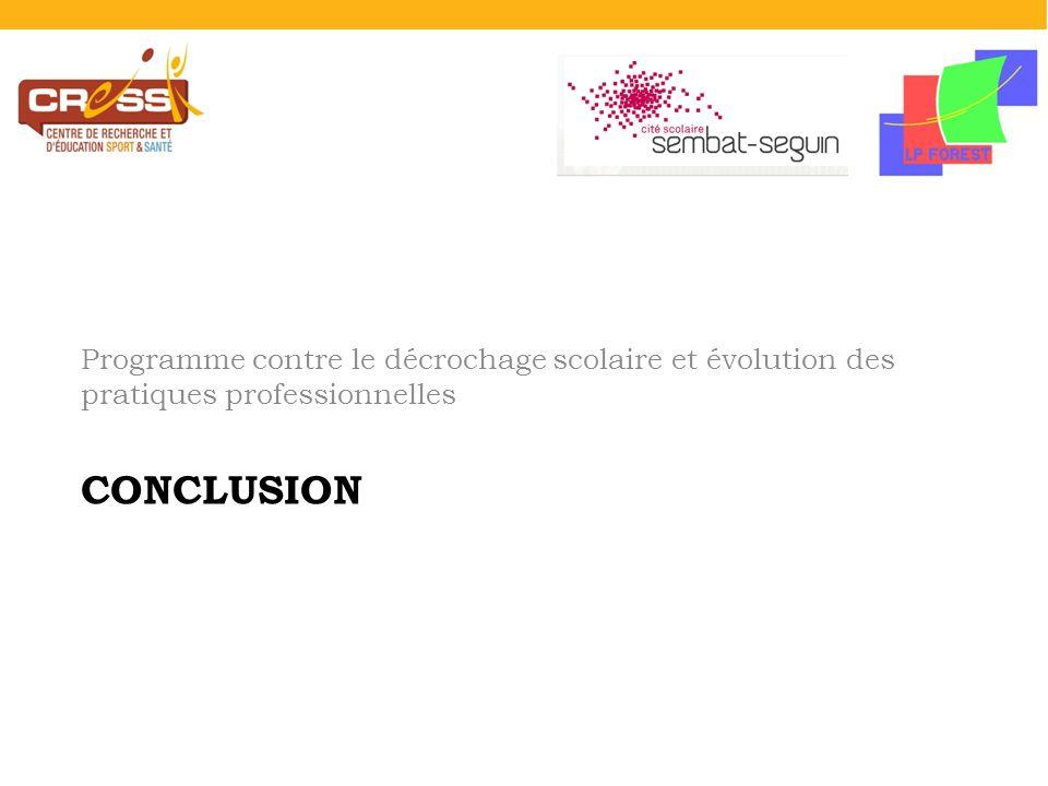 CONCLUSION Programme contre le décrochage scolaire et évolution des pratiques professionnelles