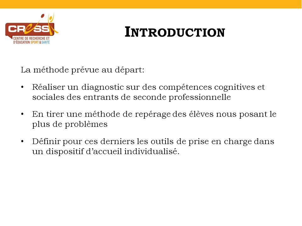 I NTRODUCTION La méthode prévue au départ: Réaliser un diagnostic sur des compétences cognitives et sociales des entrants de seconde professionnelle E