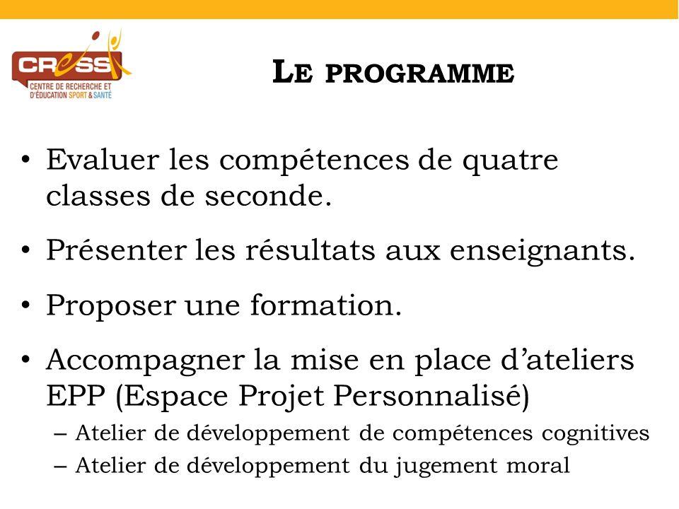 L E PROGRAMME Evaluer les compétences de quatre classes de seconde.