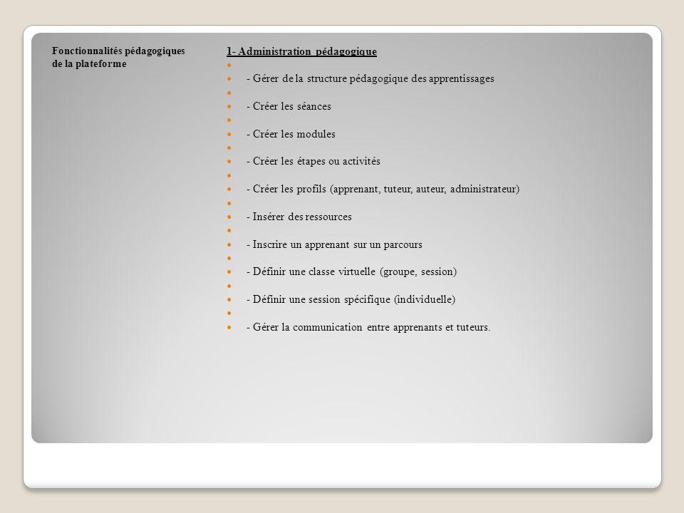 Fonctionnalités pédagogiques de la plateforme 1- Administration pédagogique - Gérer de la structure pédagogique des apprentissages - Créer les séances - Créer les modules - Créer les étapes ou activités - Créer les profils (apprenant, tuteur, auteur, administrateur) - Insérer des ressources - Inscrire un apprenant sur un parcours - Définir une classe virtuelle (groupe, session) - Définir une session spécifique (individuelle) - Gérer la communication entre apprenants et tuteurs.