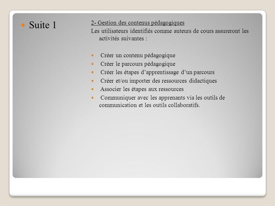 Suite 1 2- Gestion des contenus pédagogiques Les utilisateurs identifiés comme auteurs de cours assureront les activités suivantes : Créer un contenu