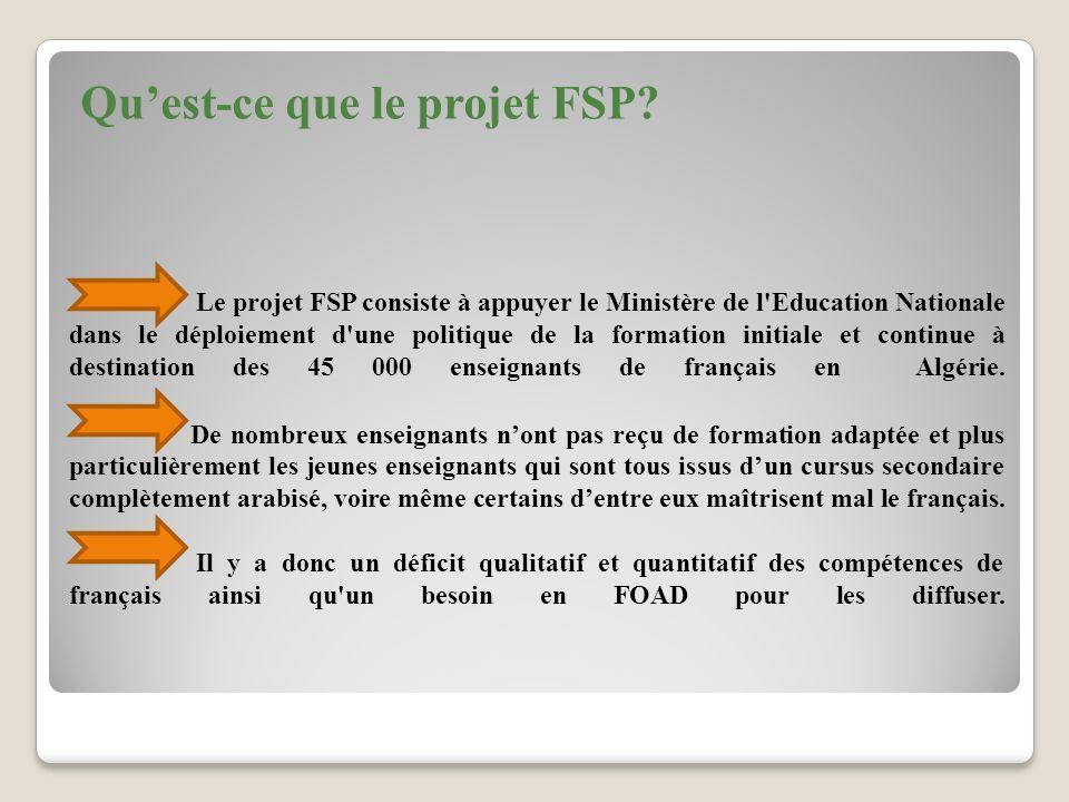 Ce projet vise à améliorer l enseignement du français en Algérie en agissant sur la formation initiale et continue des enseignants de français et la formation continue des inspecteurs de français: Perfectionnement des formateurs intervenant dans la formation initiale et continue des enseignants de français.