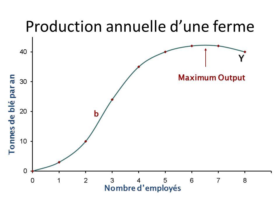 Y b Rendements décroissants au-delà de b Tonnes de blé par an Nombre demployés Production annuelle dune ferme