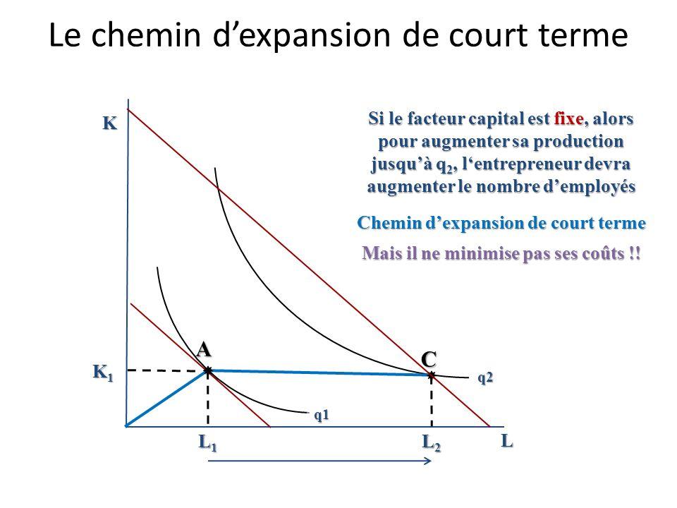 Le chemin dexpansion de long terme K L Chemin dexpansion de long terme en présence de rendements décroissants B Isoquante de 300 unités A C Isoquante