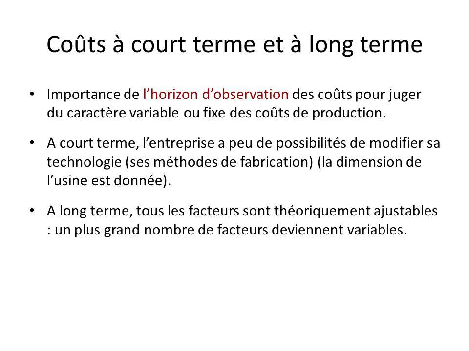 Coûts fixes et coûts variables Les coûts fixes : coûts incompressibles dont lentreprise a besoin quel que soit le niveau de production adopté. Tous le