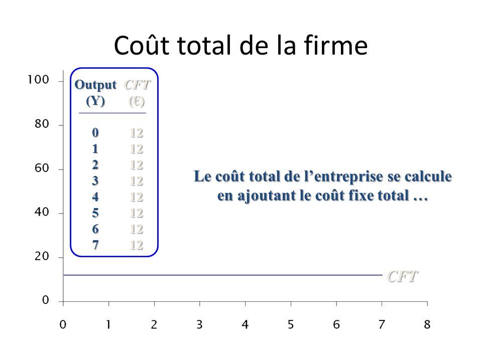 Coûts à court terme et à long terme Importance de lhorizon dobservation des coûts pour juger du caractère variable ou fixe des coûts de production. A