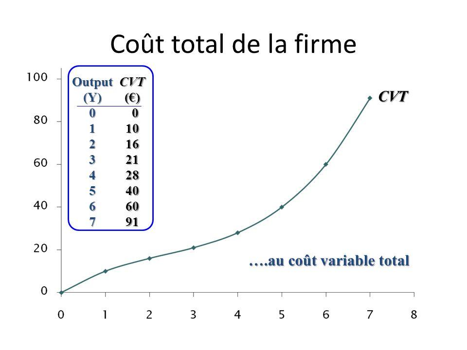 Coût total de la firme CFT Output(Y)01234567 CFT()1212121212121212 Le coût total de lentreprise se calcule en ajoutant le coût fixe total …